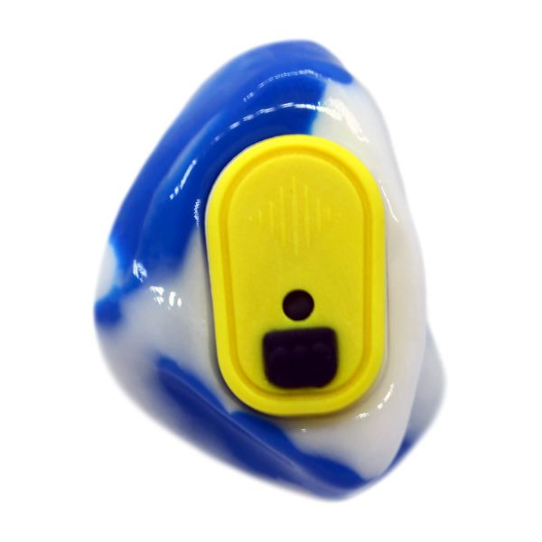 Opaque blue and white silicone with a yellow Vario Revolution module