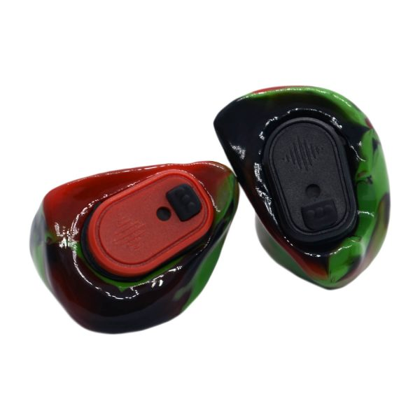 Opaque green, opaque red and black silicones with one red and one black Vario Revolution module