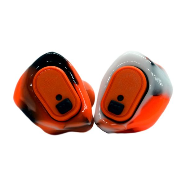 Black, neon orange and white silicones with orange Vario Revolution modules