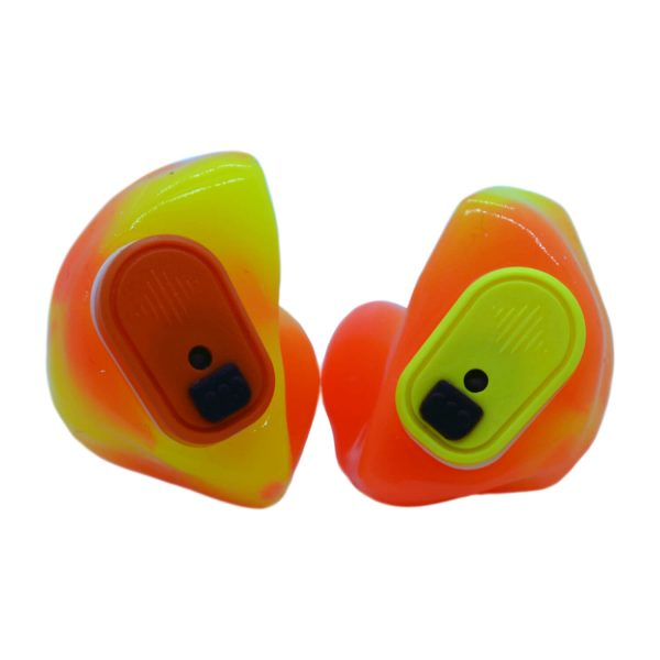 Neon orange and neon yellow silicones with one orange and one yellow Vario Revolution module