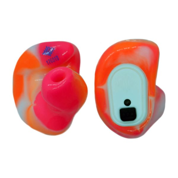 Neon orange, neon pink and white silicones with a white Vario Revolution module