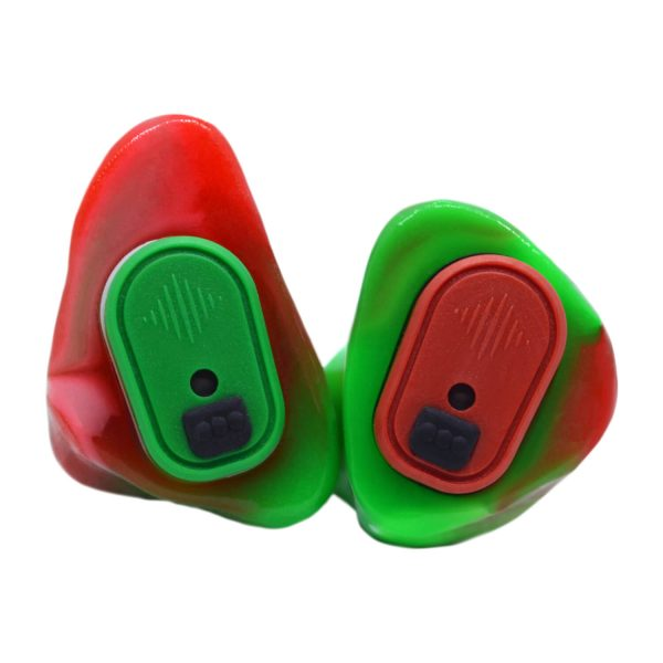 Neon green and opaque red silicone with one light green and one red Vario Revolution module
